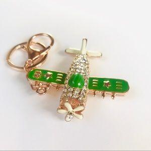 Accessories - ✈️Green Crystal Airplane Keychain ✈️